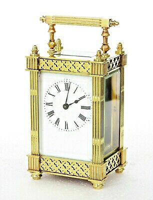 Antique French Carriage Clock, Filigree Friezes, Excellent Condition, Serviced
