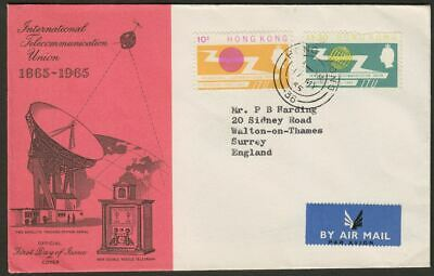 Hong Kong 1965 QEII ITU Centenary Pair Used on First Day Cover SG214-215 st flt