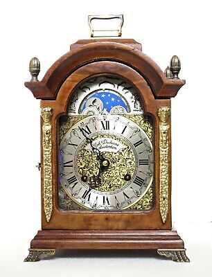 "Joh. Duchesne Dutch Moonphase Bell-Striking Bracket Clock, 11 1/2"" High"
