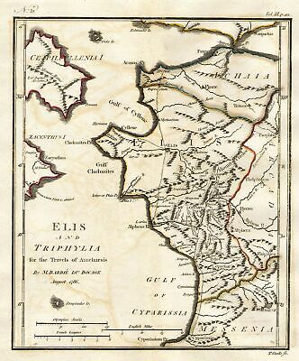1786 Bocage Map Of Elis und Triphylia in Alte Griechenland (First Olympic Spiele