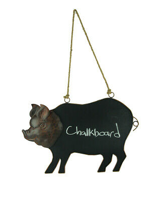 Rustic Brown Metal Pig Shaped Hanging Chalkboard