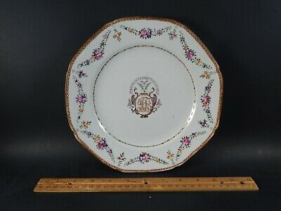 """Antique Chinese Export  ARMORIAL Porcelain Plate """"The Lord Will Provide"""" 18th C"""