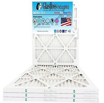 Glasfloss 18x25x1, 1 Inch MERV 13 (Qty:4) Pleated AC Furnace Filter Made in USA