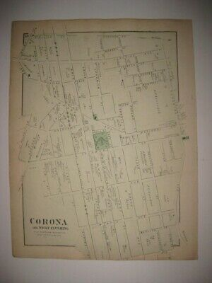 SUPERB ANTIQUE 1873 CORONA or WEST FLUSHING QUEENS NEW YORK CITY HANDCOLORED MAP