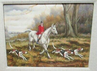 Hunting Scene Original Oil On Canvas Painting Unsigned