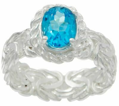Silver Style Sterling Silver 1.25Ct Blue Topaz Byzantine Band Ring Size 6 Qvc