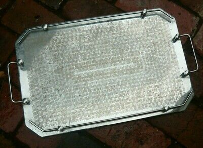 Art Deco chrome drinks serving tray with handles and edging, Excl Cond.
