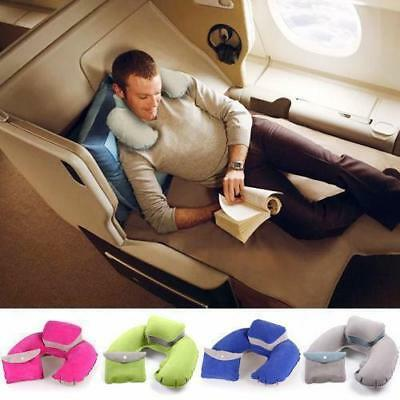Portable Inflatable U-Shape Neck Pillow Car Head Rest Sleep Cushion Travel HC