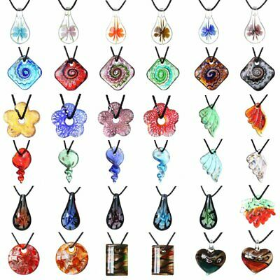 Women Handmade Lampwork Murano Glass Flower Leaf Pendant Necklace Jewelry Gift