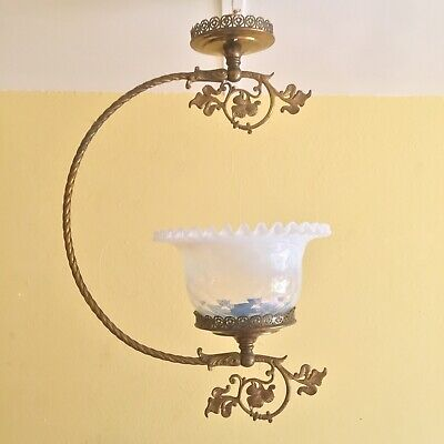 Antique Victorian Art Nouveau Gilt Ceiling Fixture Opaline Glass Shade Lamp
