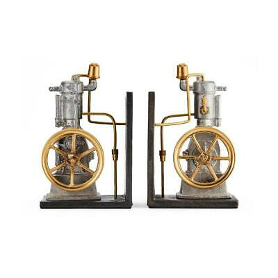 Vertical Steam Engine Bookends - Cast Metal - Solid Brass Fittings