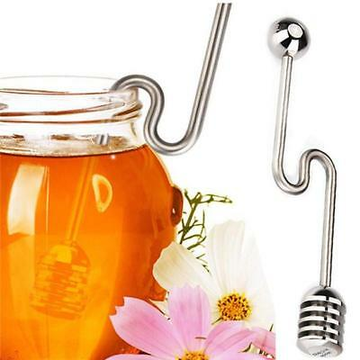 Stainless Steel Honey Dipper Stick Spoon Dip Server Mixing Bee Jar Can Baby HC