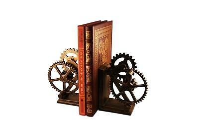 Steampunk Gears Sprocket Bookends - Metal Cogs Cast Iron - Pair
