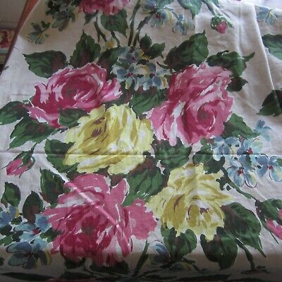 Full Blown Roses Masterpiece Vintage 1950s Cotton Curtain Fabric Pink 61x 58