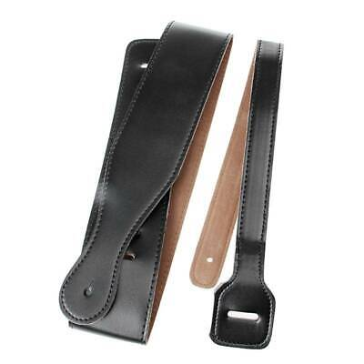 Adjustable Soft PU Leather Thick Strap For Acoustic Electric Guitar Bass Black