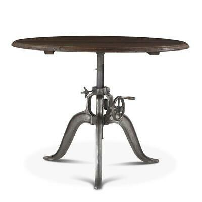 Round Industrial Dining Table - Cast Iron Adjustable Crank Solid Wood Top 46""