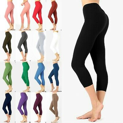 WOMEN BASIC SOLID STRETCH BIKER SHORTS YOGA GYM COTTON LEGGINGS OP1802P