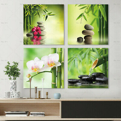 4pcs Zen Stone and Flowers Canvas Painting Wall Art Picture HD Print Home Decor