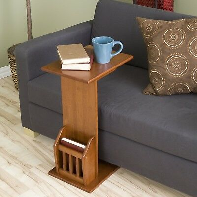 End Table With Magazine Storage Rack Oak Finish Wood Chair Side