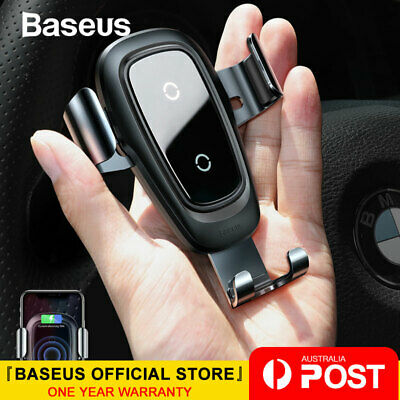 Baseus Qi Wireless Charger Car Air Vent Holder for iPhone X XS Max S10 Note 9