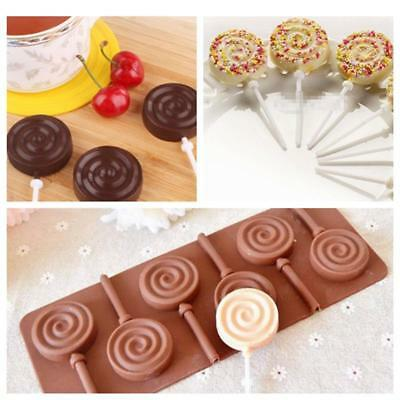 6 Holes Lollipop Sticks Candy Mold Silicone Cake Baking Cooking Mould HC