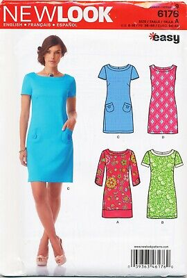 4327c05f60d New Look Sewing Pattern 6176 Misses 8-18 Classic Shift Dress With Sleeve  Options