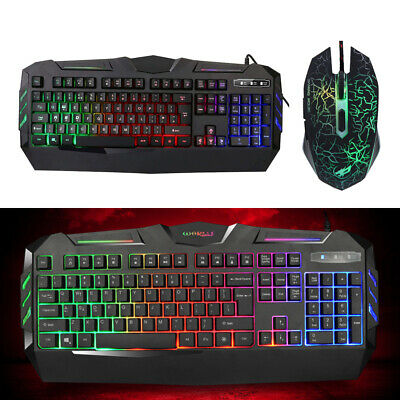 Gaming Keyboard and Mouse Wired Set  LED Suit PC PS4 Macbook Laptop TV Black