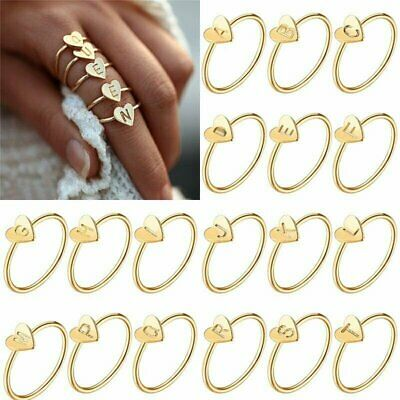 Personalized A-Z Initial Ring Engraved Women Gold Heart Engagement Party Jewelry