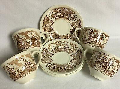 SET OF 4  FAIR WINDS CUP & SAUCERS by ALFRED MEAKIN  #20971