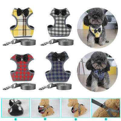 Pet Clothes Costume Bow Tie Plaid With Nylon Leash Cute Lovely Small Dog Puppy