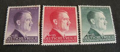 General Governement 1943 Hitler 54th Birthday stamp set -MH-WW2 occupation