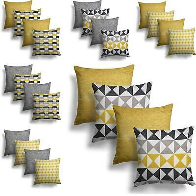"""Set Of 4 Ochre Grey Chenille Cushion Covers 18"""" Geometric Yellow Silver Cover"""