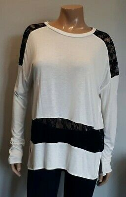 0d3e9cfe10c112 Wilfred Aritzia Ivory Tunic Top Womens Small Long Sleeve Rayon Black Lace  Inset