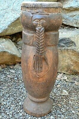 Antique Kuba Tribe African Ceremony Drum Carved Braided Hand Handle Congo Africa