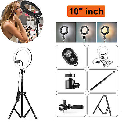 "10""LED Ring Light with Stand 5500K Dimmable LED Lighting Kit Makeup Youtube Live"