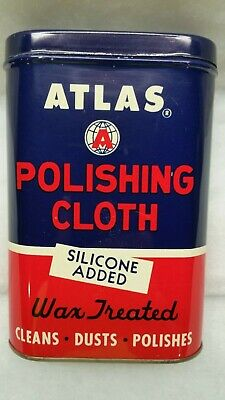 Vintage Atlas Polishing Cloth Tin with Used Silicone Cloth New Old Stock