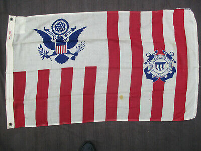 "VINTAGE 1950s-1960s US COAST GUARD USCG FLAG ENSIGN No 4 30x51"" WOOL-NYLON"