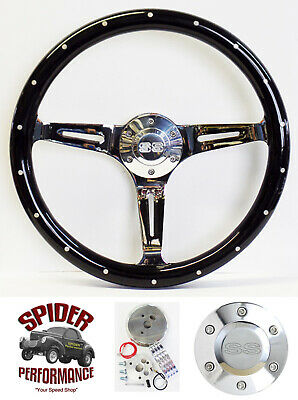 "1969-1973 Chevelle EL Camino steering wheel SS 14"" BLACK WOOD"
