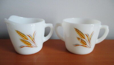 Fire King Golden Wheat Creamer + Sugar Bowl White Milk Glass 1960s Oven Ware USA