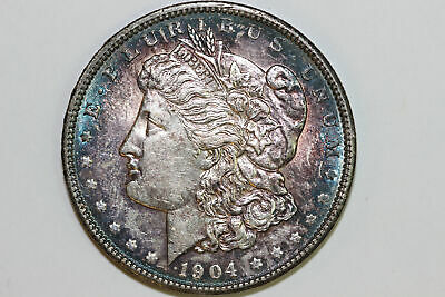 Nicely Toned About Uncirculated 1904 P Morgan 90% Silver Dollar (MDX3636)