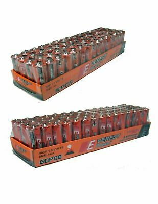 LOT OF 120 BATTERY 60 AA AND 60 AAA Batteries extra Heavy Duty Wholesale lot