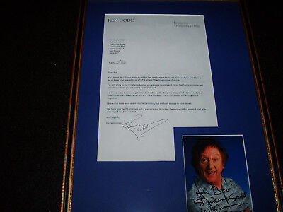 Ken Dodd Signed 12.5X18.5 Framed Photo Happiness And Letter Notty Ash Display