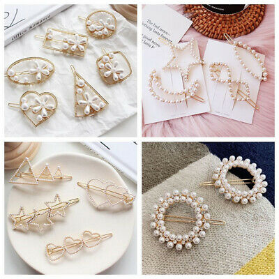 New Women Girl Vintage Pearls Hair Clip Hair Pin Bobby Comb Barrette Acetate AU