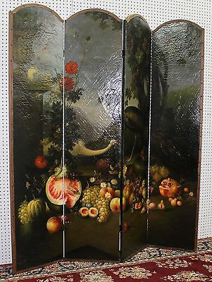 Antique Style French Four Panel Hand Painted Peacock Fruit Screen Divider