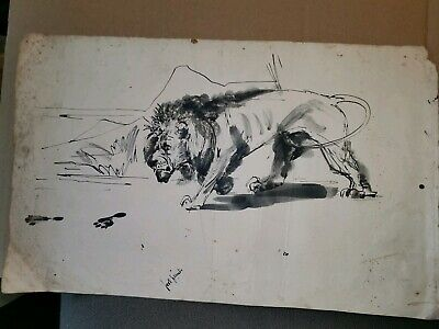 Original Antique Chinese Sumi Painting After Xu Beihong Signed Ink Lion