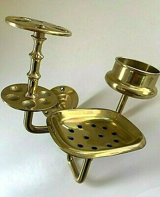 Vintage Victorian Brass Bath Cup Soap Toothbrush Holder Caddy