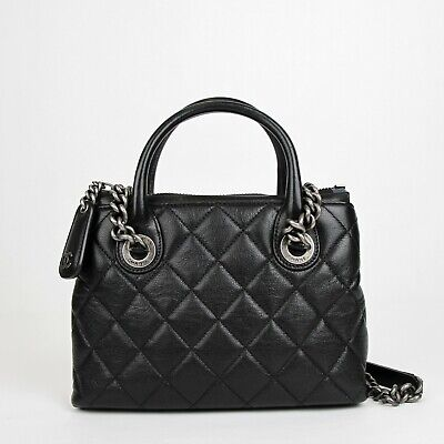 7ef289b60e73 Chanel Black Leather Diamond Quilted Small Chain Tote Bag with Antique  Hardware