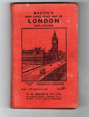 C1940's BACON'S Large Print MAP of LONDON & Suburbs, Cloth, Hardback, GUIDE.