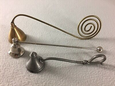 """Lot of 3 Candle Snuffer 9"""" Solid Brass Coiled Handle 6"""" Solid Pewter 8"""" Chrome"""