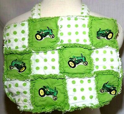 John Deere Type Green Tractor Rag Quilt Purse Green and White Polka Dots